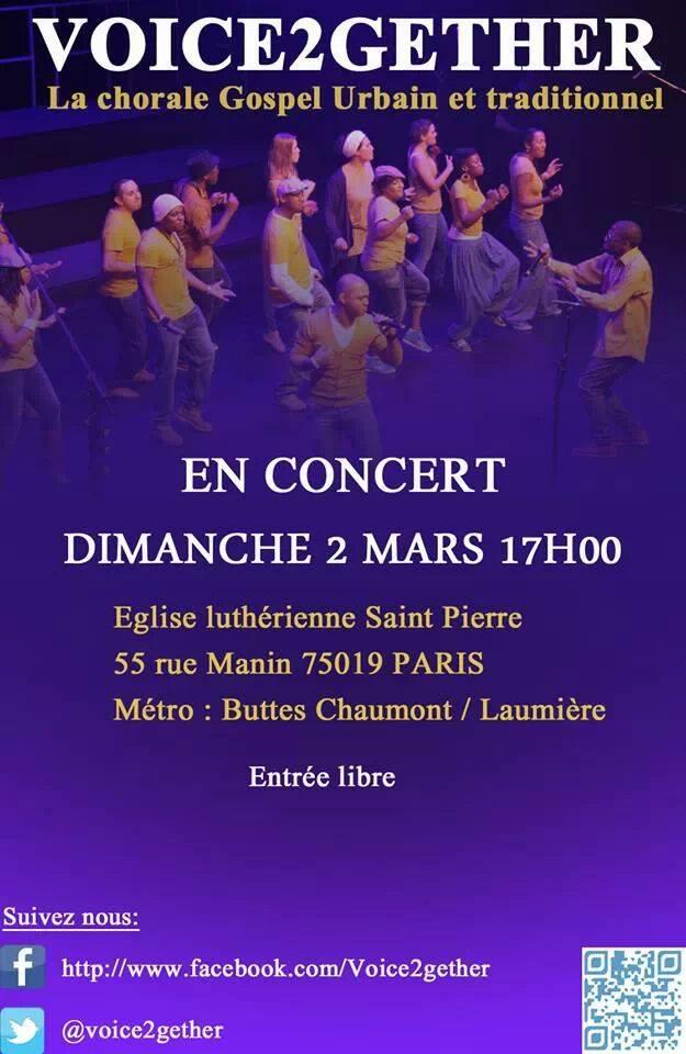 Concert VOICE2GETHER le 2 mars 2014