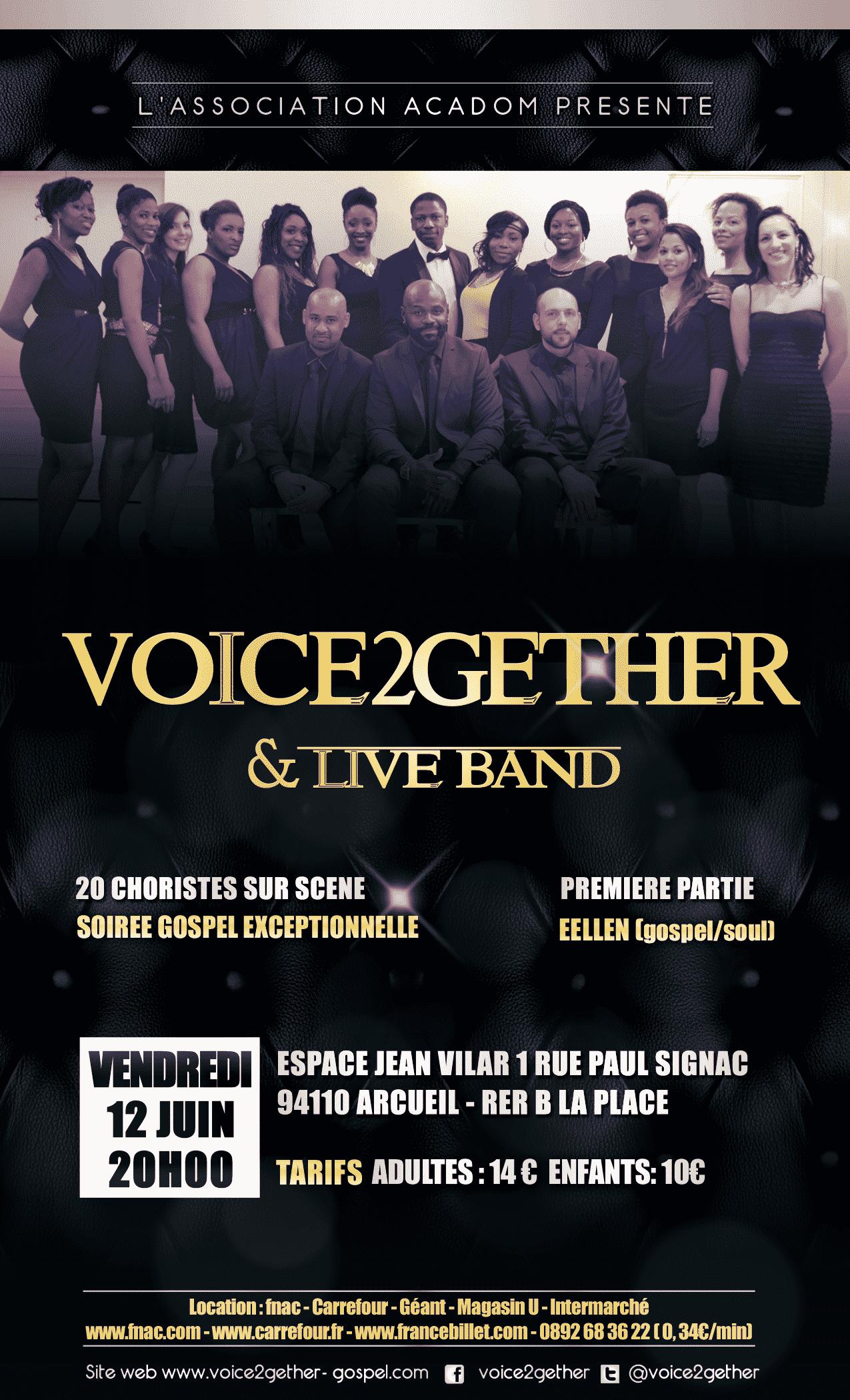 VOICE2GETHER & LIVE BAND, la chorale gospel urbain en concert